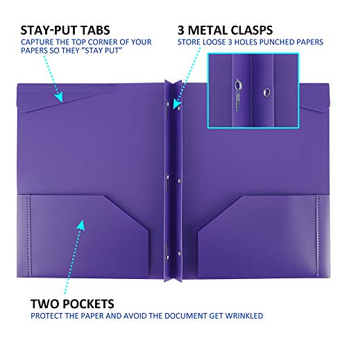 Folders, Plastic Folders with Pockets and Prongs, Heavy Duty Folders with Brads, 12Pack by Rolandal (Image #2)'