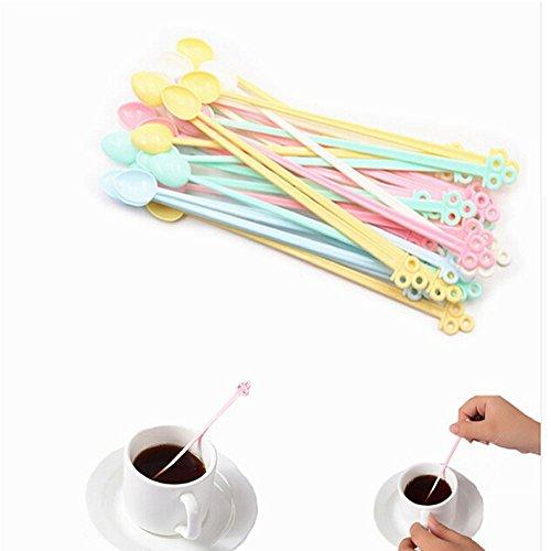 ORYOUGO 60 Pack Mini Food Grade Plastic Coffee Tea Beverage Stirrers Spoon Colorful Disposable Sticks Bar Tool