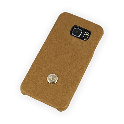 QIOTTI Q. à rabat de luxe en cuir véritable snapcase pour Samsung Galaxy S6Edge–sable marron
