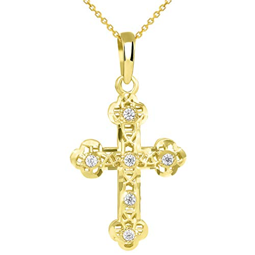 Textured 14K Yellow Gold Filigree Eastern Orthodox CZ Cross Charm Pendant Necklace, 16