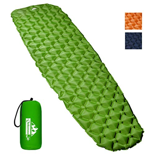 Outdoorsman Lab Inflatable Sleeping Pad - Ultralight, Compact Inflating Pads - Portable Bed Mat for Travel, Hiking, Backpacking - Folding Air Mattress for Sleep Bag, Camping Accessories (Green)