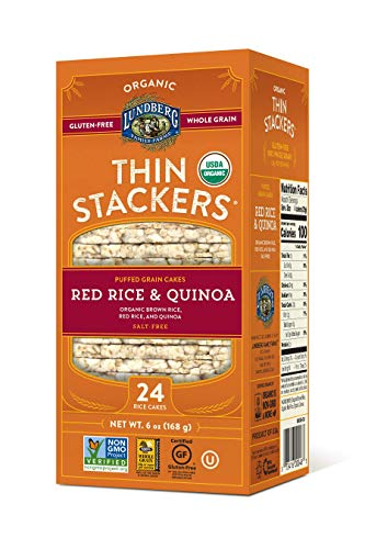 Lundberg Thin Stackers, Red Rice & Quinoa, 6 Ounce (Pack of 6), - Organic Lundberg Cakes