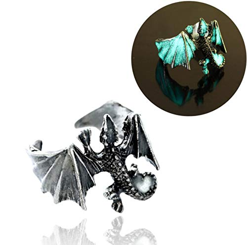 Dragon Ring Antique (18mm Adjustable Vintage Glow in The Dark Luminous Dragon Rings for Men Women Rings (Antique Silver Blue and Green))