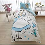 Disney Alice duvet cover, sheets, pillow cases three-piece set single white blue