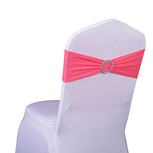 SINSSOWL 100PCS Stretch Wedding Chair Bands with Buckle Lycra Slider Sashes Bow Decorations 25 Colors -