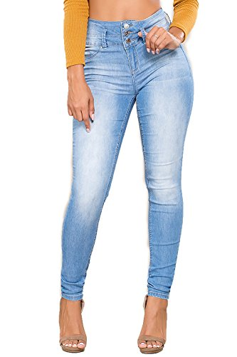 YMI Junior's Triple Button High Waisted Skinny Jean,Light Blue L08, 5 (Ymi Skinny Jeans)