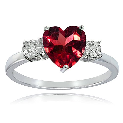 Ice Gems Sterling Silver Created Ruby Red and Heart Ring, Size 5