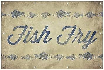 Fish Script Wind-Resistant Outdoor Mesh Vinyl Banner CGSignLab Fish Fry 9x6