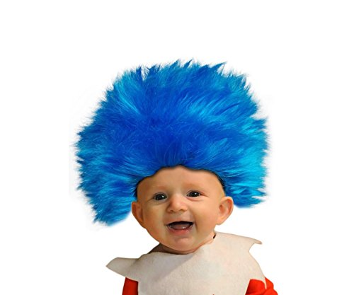 Toddler Size, Blue Straight up in the Air Wig, Emulate your Favorite Characters! (Costume 2 En 1)