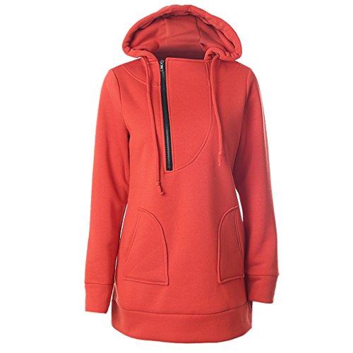 Women Casual Long Hoody Hoodie Plus Size Sweater Sportwear Orange 2XL (Lakers Costume)
