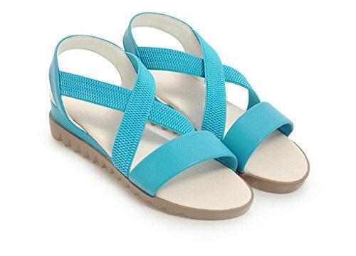 élastiques Femmes antidérapantes 38 Plat xie pour 2cm Fond Sandales Blue antidérapantes Confortables décontractées 34 à 41 BExxRqvY