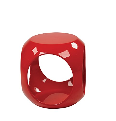 AVE SIX Slick High Gloss Finish Cube Occasional Table, - Star Gloss Red