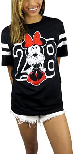Disney Womens Minnie Mouse Varsity Football Tee