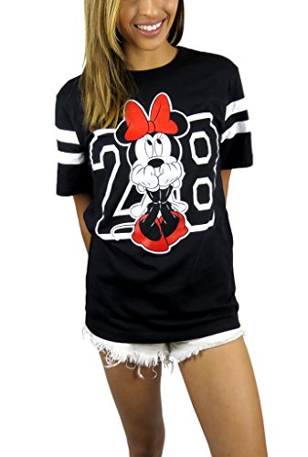 Disney Womens Minnie Mouse Varsity Football Tee (Black, Small)