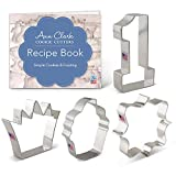 Ann Clark Cookie Cutters 4-Piece First /1st Birthday Cookie Cutter Set with Recipe Booklet, Number 1, Square Plaque, Cupcake & Crown