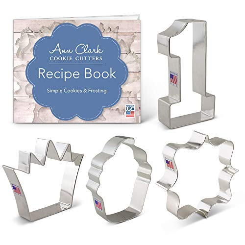 First /1st Birthday Cookie Cutter Set with Recipe Book - 4 piece - Number One, Square Plaque, Cupcake & Crown - Ann Clark - USA Made Steel