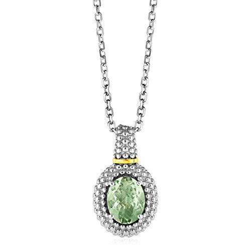 Necklace with Oval Green Amethyst Pendant in Sterling Silver and 18K Yellow Gold (Amethyst Oval Gold)