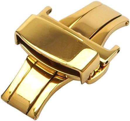 【16mm ゴールド】ワンタッチ 着脱 プッシュ式 ステンレス Dバックル 観音開き タイプ 腕時計 革 ベルト 用 バネ棒外し プレゼント 16mm-ゴールド