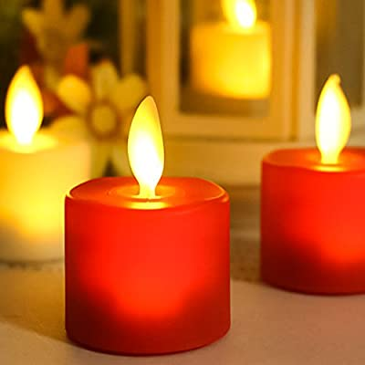 Maojia Flameless Candles, Simulation Led Tea Lights Battery Operated with Auto-Timer and Remote Control, Flickering Light Candles for Bath Wedding Reception Party Christmas Decorations