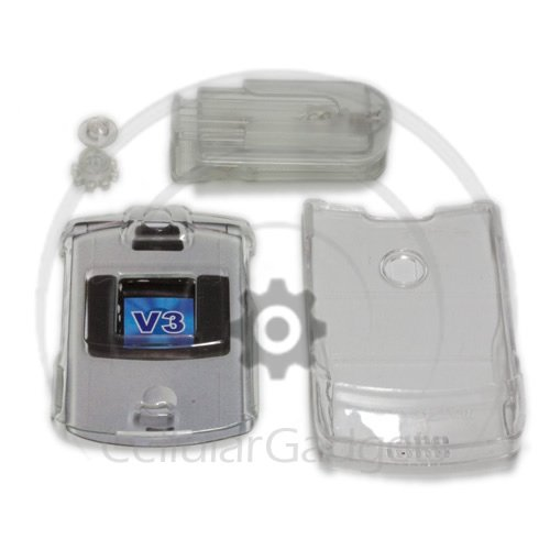 PREMIUM CRYSTAL CLEAR WITH BLET-CLIP Faceplate / Case / Cover for Motorola RAZR V3 /V3c / V3m/ V3i