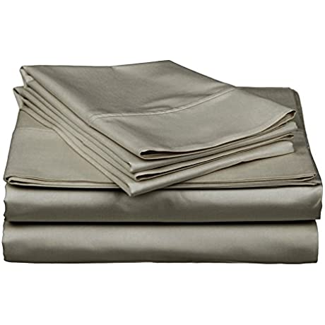 Gotcha Covered Luxe Collection 618TC Combed Cotton Sateen Split California King Deep Pocket Sheet Set Fog