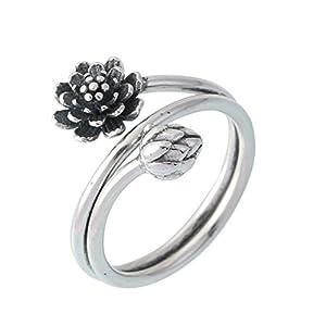 Helen de Lete innovative nero loto in argento Sterling anello aperto