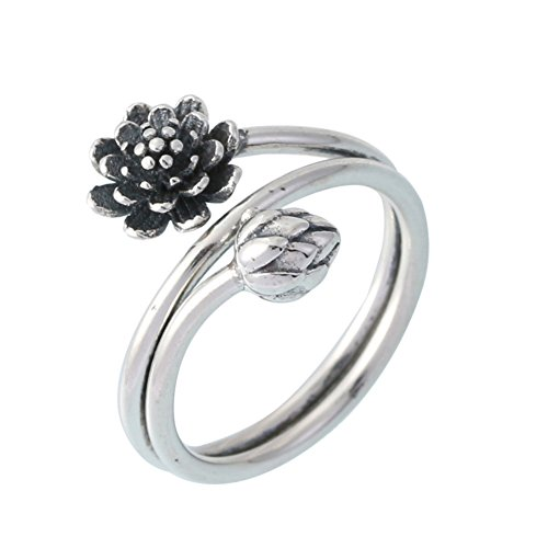 - Helen de Lete Innovative Black Lotus Sterling Silver Open Ring