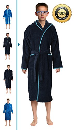 Terry Robe Boys Cloth - Bath Robe Men's/Boys 100% Cotton Bathrobe Long Hooded Bathrobe 100% Absorbent Cotton Terrycloth Inside And Velour Finishing Outside With 2 Pockets by Abstract