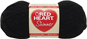 Red Heart  Shimmer Yarn, Solid, Black
