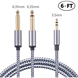3.5mm to Double 6.35mm Stereo Audio Cable Gold Plated 3.5mm 1/8 TRS Male to 6.35mm 1/4 TS Male Mono Y-Cable Splitter Cord Compatible for iPhone Multimedia Speakers and Home Stereo Systems 6FT