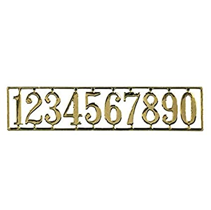 Dollhouse Miniature 1:12 Scale Brass Look House Number Set