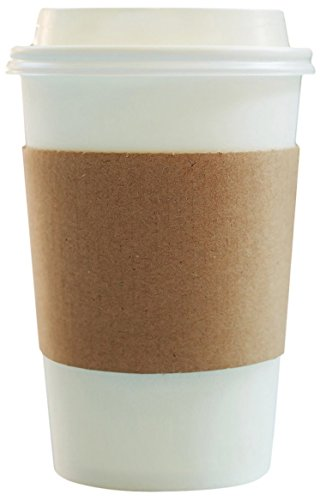 Disposable Paper Coffee Cups - Insulated - with Lids and Sleeves (50, 12 oz)