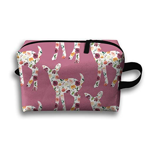 Makeup Cosmetic Bag Floral Fawn Silhouettes On Mauve_119681 Medicine Bag Zip Travel Portable Storage Pouch For Mens Womens