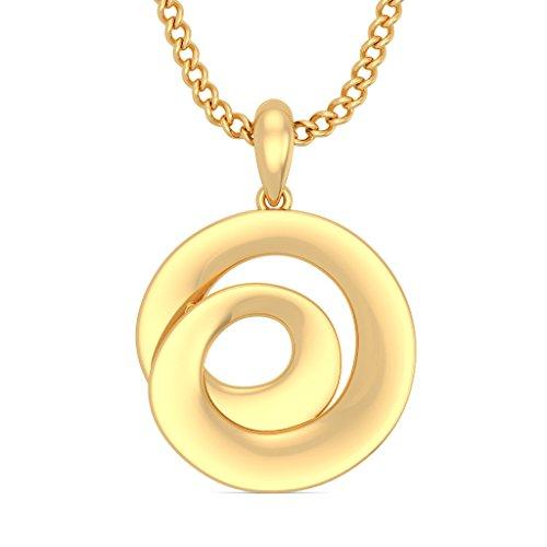 18K Or jaune 0,03CT TW Round-cut-diamond (IJ | SI) Pendentif