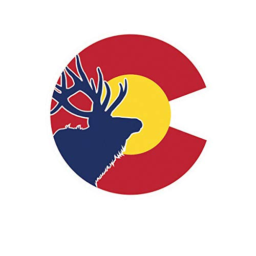 Morgan Graphics Colorado State Flag Elk Sticker Die Cut Decal CO Hunter Hunting Archery Hunter Vinyl Decal Sticker Car Waterproof Car Decal Bumper Sticker 5