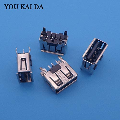 ShineBear A Type Flat Angle Female USB PCB Connector Socket USB Jack Plug Black SB 2.0 Female Type A 4 Pin PCB Connector 180 Degree DIY Cable Length: Other