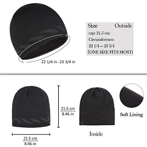 3aa486746964d0 OMECHY Winter Beanie Skull Cap Warm Knit Fleece Lined Ski Slouchy Toboggan Hat  for Men &