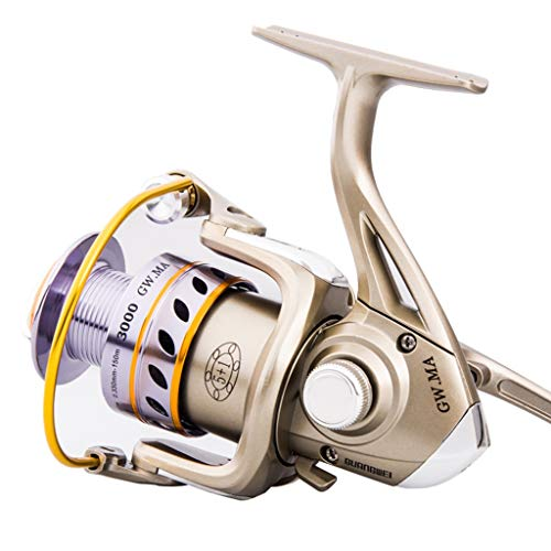 DUYULU Fishing Reel Full Metal Head Fish Wheel Far-Casting Spinning Sea Rod Asian Carp Fishing Gear Valve Stem with Small Round Left and Right Hand Interchangeable (Color : - Left Stem Hand