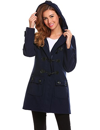 Womens Hooded Toggle - ELESOL Women's Hoodie Plus Size Jacket Wool Blend Duffle Toggle Pea Coat Blue L