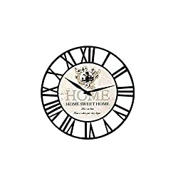 Ibobo Shop Farm House Vintage Wall Clock with Home Sweet Design Theme and Chic Style Battery Operated Black Rustic Metal Wall Clock for Kitchen,Home,Living Room 16 inch.