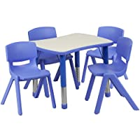 Flash Furniture Adjustable Rectangular Plastic Activity Table Set with 4 School Stack Chairs