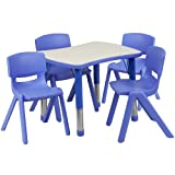 Flash Furniture 21.875''W x 26.625''L Rectangular Blue Plastic Height Adjustable Activity Table Set with 4 Chairs