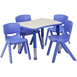 Flash Furniture Adjustable Rectangular Plastic Activity Table Set with 4 School Stack Chairs, 21.875 by 26.625-Inch, Blue