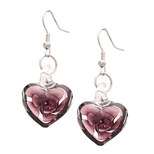 Bleek2Sheek Murano-inspired Heart Shaped Glass Amethyst Purple Swirl Flower Heart Earrings EAR1046 – HYPOALLERGENIC