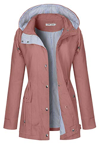 BBX Lephsnt Women Waterproof Raincoat Lightweight Rain Jacket Hooded Windbreaker Trench Coats Pink