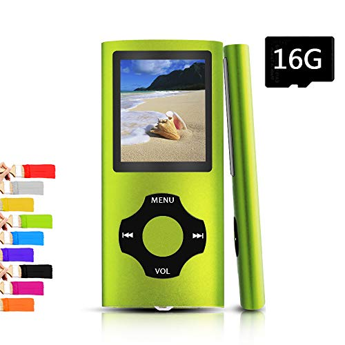 Tomameri – Portable MP3 / MP4 Player with Rhombic Button, Including a Micro SD Card and Support Up to 64GB, Compact Music, Video Player, Photo Viewer Supported,Blackgreen