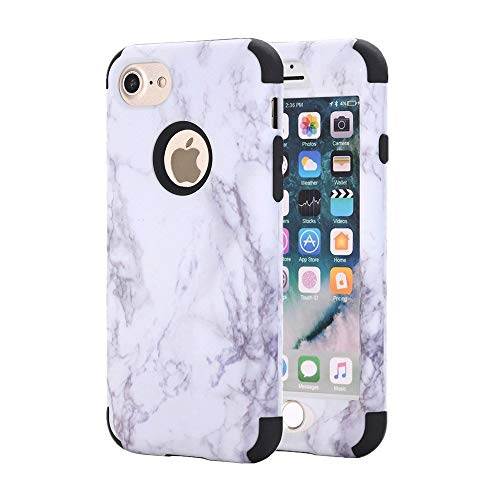 iPhone 7 case, NOKEA [Marble Pattern] Three Layer Hybrid Heavy Duty Shockproof Protective Bumper Cover Soft Silicone Combo Hard PC Case for iPhone 7 (Black)