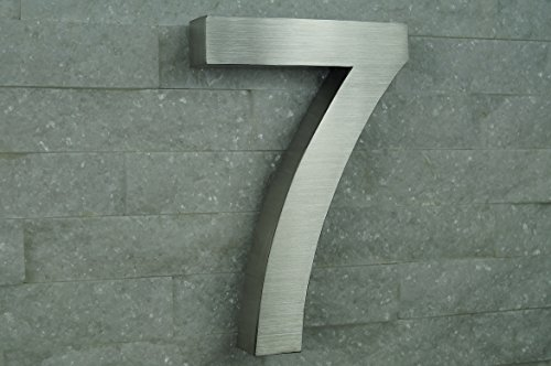HAUSNUMMER EDELSTAHL Nr.7 / H20cm / Arial in 3D-Design / V2A !!!