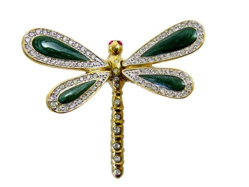 Gold Tone Swirl Pin (Gold tone Emerald Swirl Spring Wings Dragonfly Pin)