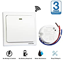Acegoo Wireless Switch Kit - No Wiring No Battery Self-generated Switch plus Receiver - Remote Control Lights Lamps Ceiling Fan Outlet and Other Electronics